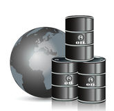 Oil drum and gray earth Royalty Free Stock Photos