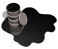 Oil Drum Oil Spill Copyspace. Oil drum / barrel and oil spill, copyspace in the oil puddle; 3D render stock illustration