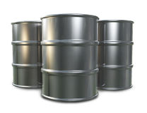 Oil Drums. Three 3D oil drum models placed ona white background Stock Photos