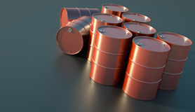Oil drums. Red oil barrels glistening in the sunlight. 3D render Stock Photo