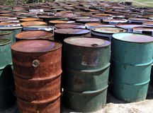 Oil Drums. Collection of disused 40-gallon oil-drums Royalty Free Stock Photography