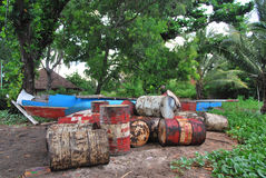 Oil drums in Africa Royalty Free Stock Images