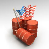 Oil drums and American flag. 3d illustration of American flag in middle of oil drums or petrol barrels, isolated on white background Royalty Free Stock Images