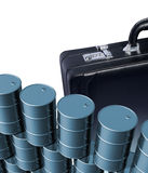 Oil drums and briefcase Royalty Free Stock Photography