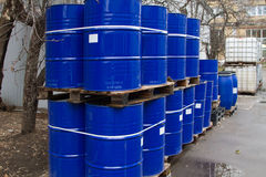 Oil drums and chemical containers Royalty Free Stock Images
