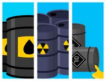 Oil drums container fuel cask storage rows steel barrels capacity tanks card metal old bowels chemical brochure vector. Stack different oil drums fuel container royalty free illustration