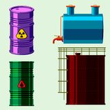 Oil drums container fuel cask storage rows steel barrels capacity tanks natural metal old bowels chemical vessel vector. Stack different oil drums fuel container royalty free illustration