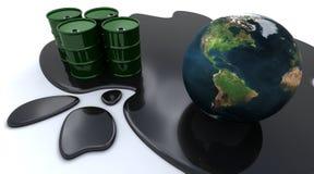 Oil drums and globe sat in spilt oil. 3D render of Oil drums and globe sat in spilt oil Stock Photos