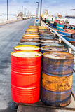 Oil drums on jetty Stock Photos