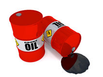Oil drums leaking. 2 oil drums, one on his side is leaking crude oil vector illustration