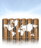 Oil drums and map Royalty Free Stock Photos