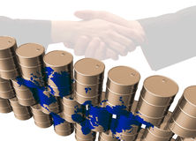 Oil drums, map and handshake Stock Image