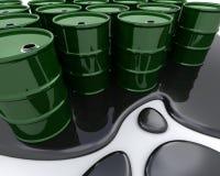 Oil drums sat in spilt oil. 3D render of Oil drums sat in spilt oil stock illustration