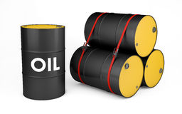 Oil drums on white. With clipping path stock illustration