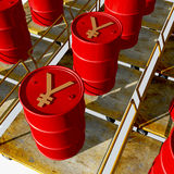 Oil Drums With Yuan Symbol Royalty Free Stock Photography