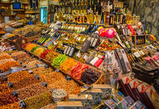 Oil and dry fruits market stand Stock Photo