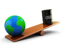 Oil and earth. Abstract 3d illustration of earth and oil barrell on scale board royalty free illustration