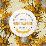Sunflower oil emblem. Oil emblem over hand drawn seamless pattern with sunflowers Royalty Free Stock Images