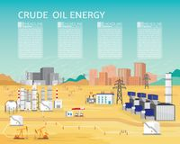 Oil energy with diesel engine generate the electric. Supply to the city and industrial in simple graphic Royalty Free Stock Photography