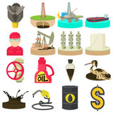 Oil and energy industry icons set, cartoon style Stock Photography