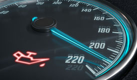Oil and engine malfunction warning light control in car dashboard. 3D rendered illustration Stock Image