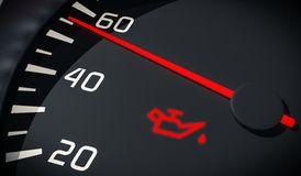 Oil and engine malfunction warning light control in car dashboard. Stock Image