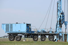 Oil exploration mobile drilling rig vehicle Royalty Free Stock Images