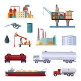 Oil exploration. Petroleum factory with platforms and terminal. Manufacturing pictures isolate on white vector illustration