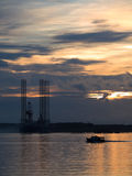 Oil Exploration Rig at Dawn Royalty Free Stock Photo