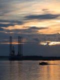 Oil Exploration Rig at Dawn Royalty Free Stock Photo
