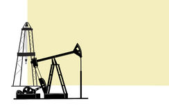 Oil extraction. The illustration depicts the silhouettes  of derricks for the extraction of oil from the bowels of the earth Royalty Free Stock Photo