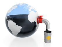 Oil extraction. 3D illustration of oil extraction from Earth in form of glass container stock illustration
