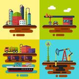 Oil extraction and delivery. Vector flat illustrations. Oil extraction, oil pumping station, oil delivery and storage, oil factory, gas station Stock Images