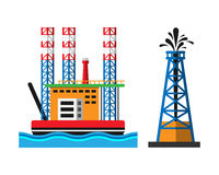 Oil extraction platform vector illustration Royalty Free Stock Images