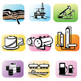 Oil extraction and processing. Set of isolated icons Stock Image