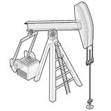 Oil extraction pump. Outlined oil well industry production, oilfield equipment. Royalty Free Stock Photo