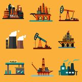 Oil extraction, refinery and retail flat icons. Petroleum industry icons in flat style with offshore oil platforms, oil pump jacks, oil refinery plants, thermal royalty free illustration