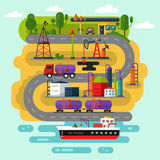 Oil extraction and transportation. Vector flat style infographic of oil extraction and transportation. Including rig, pumping station, delivery, storage, factory vector illustration