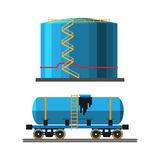 Oil extraction truck and container vector illustration Royalty Free Stock Photography