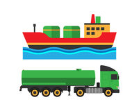 Oil extraction truck shipping and ship transportation vector illustration Royalty Free Stock Photos
