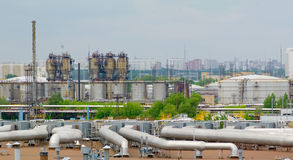 Oil factory. Daytime panorama. High resolution shot. Good for advert or poster Royalty Free Stock Photos