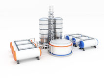 Oil factory. 3d model of oil factory Royalty Free Stock Photography