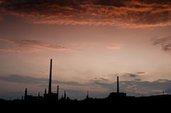 Oil factory at dusk Stock Image