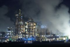 Oil factory steaming Royalty Free Stock Photos