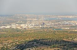 Oil Factory. View from above to the plant. The island of Sicily, Italy.  stock images