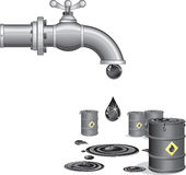 Oil faucet. Illustration of Oil faucet with barrels royalty free illustration