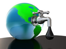 Oil faucet in earth globe. 3d illustration of oil faucet in earth globe, over white background Royalty Free Stock Images