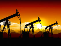 Oil field. Extractive oil industry equipment, oil well pomp, non-environmental and non-organic concept Stock Photography