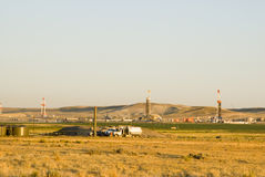 Oil field. New oil and gas drilling activity in Wyoming Royalty Free Stock Photos