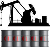 Oil field and barrels. Oil field barrels pump bio stock illustration